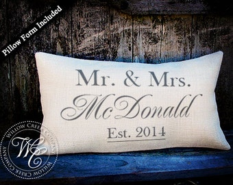 Personalized WEDDING Gift BURLAP PILLOW-  Pillow with Established Date