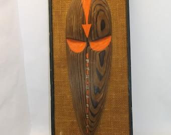 Mid century modern wall art mask on canvas Eames era