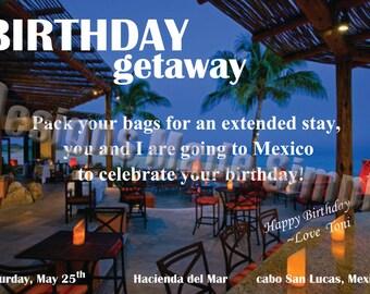 Birthday Weekend Getaway Customizable Voucher/Ticket/Gift Card - Printable