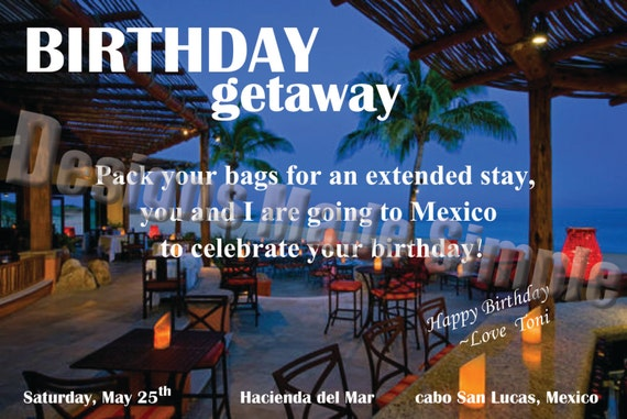 Birthday weekend getaway customizable voucher ticket gift card for Get away for the weekend