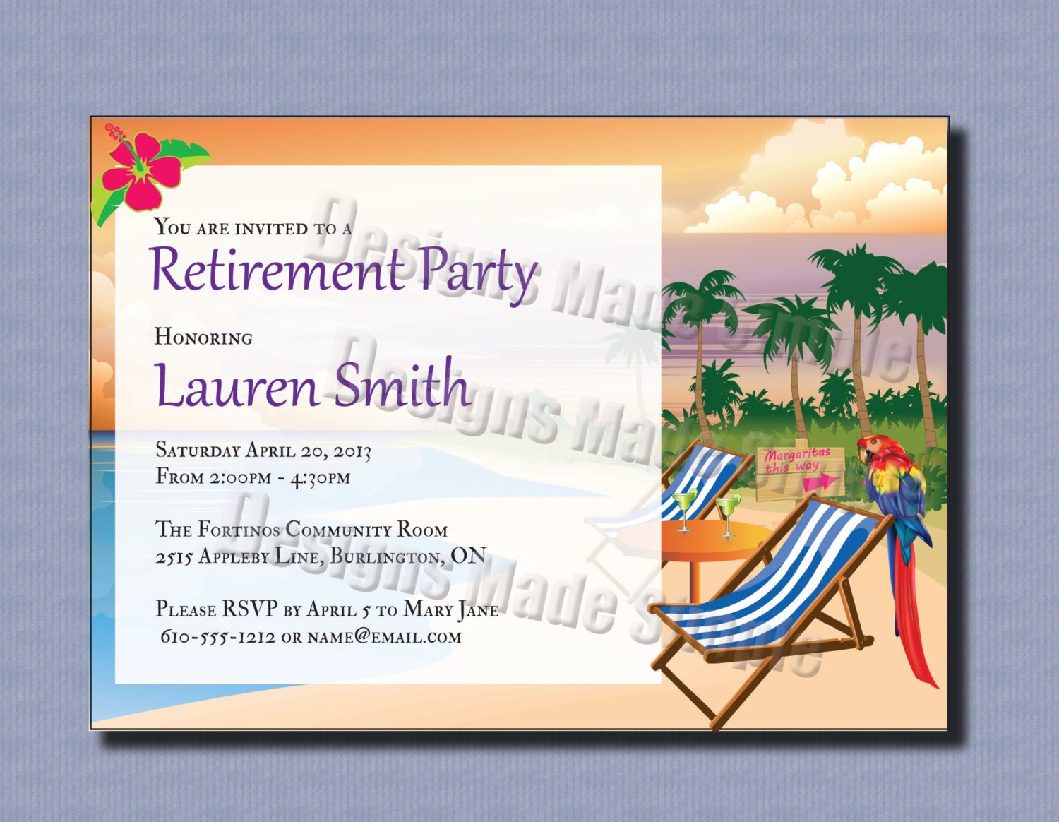 Retirement Party Invitation Beach Themed Custom Printable – Printable Retirement Party Invitations