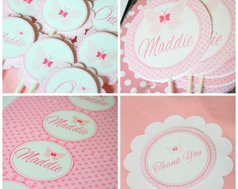 Butterfly Birthday Party Package - Assembled and Personalized - Pink Butterfly