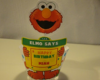 Sesame Street personalized birthday party cupcake wrappers and toppers-set of 12