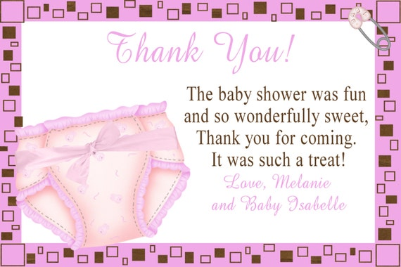 diaper baby shower thank you notes you print diy printable