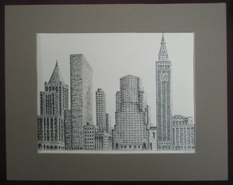 Madison Avenue in New York. Print of original ink drawing. 11 x 14 in.