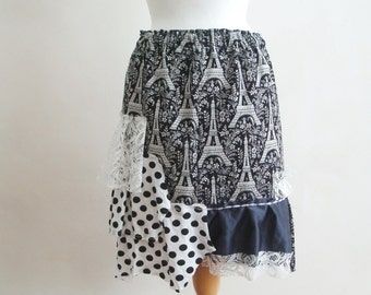 Upcycled Skirt Woman's Clothing Black and White Paris France Eiffel Tower Altered Tattered  Alternative Fashion