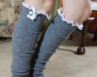 Gray Leg Warmer Knitting Boot Socks Lace and Bottons legwarmer