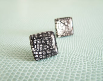 Black and Silver Square Stud Earrings - Polymer Clay and Resin Jewelry