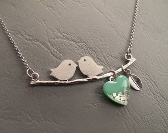 Kissing Birds on a Branch With Mint Heart - Birds on a Branch Necklace