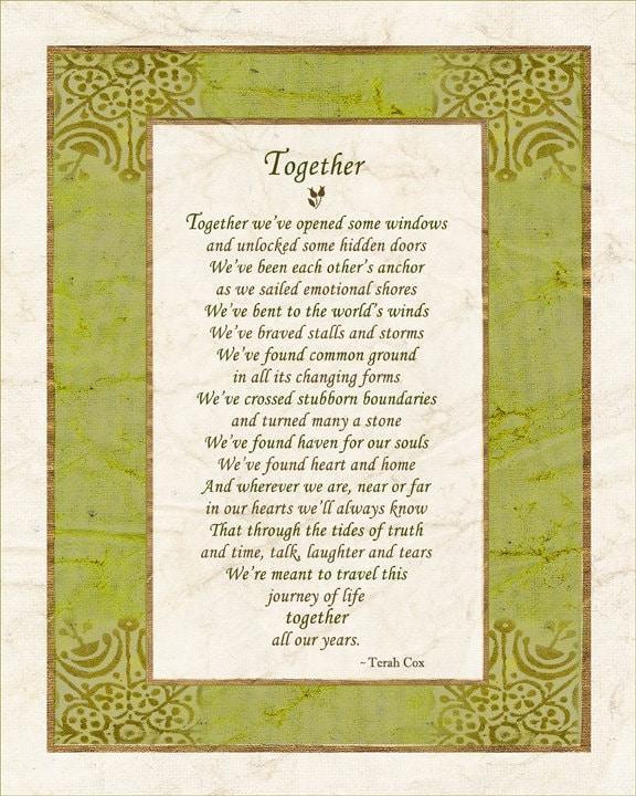 Togetherness Poem TOGETHER 8x10 Wedding By HeavenandEarthWorks