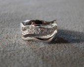 Vintage Sterling Silver 7 Round Art Deco Style Fancy Wedding Band Ring, Size 7