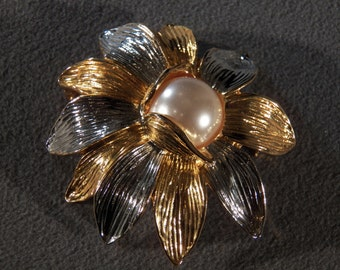 Vintage Silver Gold  Tone Round Faux Pearl  Bold Dimensional Flower Pin Brooch