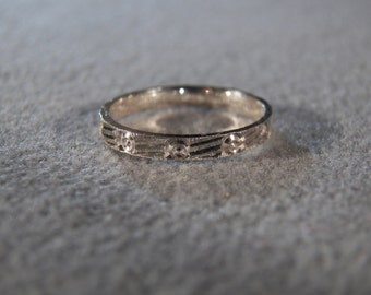 Vintage Sterling Silver  Fancy Etched Eternity Wedding Band Ring, Size 7