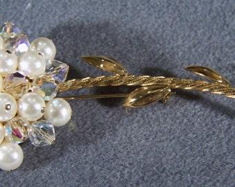 Vintage Yellow Gold Tone  Multi Round Aurora Borealis  Glass Rhinestone Faux Pearl  bold  Floral Pin Brooch     W