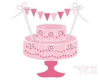 Cake Bunting, Printable Mini Banner for Girl, Mini Pink Pennants, Polka Dot, Striped Birthday Party Supplies, DIY, instant download