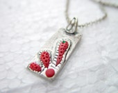 Contemporary, hand made silver red cactus necklace with Swarovski stone and paste - DaysbyDILEKAKAR