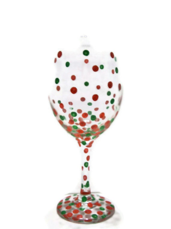 Items similar to wine glasses christmas confetti polka for Christmas glass painting