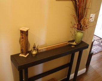 Beautiful Rustic Espresso Painted Wood SOFA Console Hall Entry Mud Room  Accent Table W/Bottom