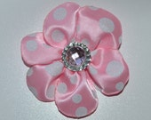 Light pink and white sparkle polka dot clip with silver and pink stone accent.