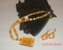 Chinese Dragon Yellow Pearl Necklace & Earring Set