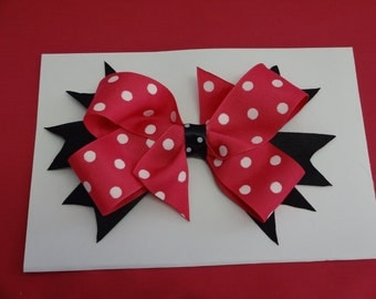 """Toddler's/Girl's Hand Made Hair Bow, Double Boutique Bow 7"""",,,"""