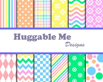 Rainbow Scrapbook Paper - Instant Download Polka Dots, Chevron, Stripes,Multi-color Papers for Scrapbook, Card Making - HMD00067