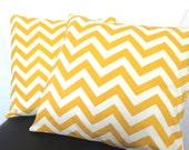 Decorative Throw Pillow-Set of 2, 18x18 Yellow Chevron