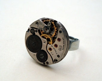 Steampunk ring watch movement silver torch soldered vintage mechanism