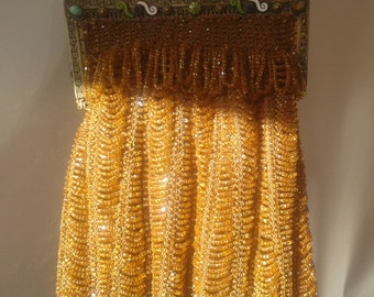Beaded Purse, Antique 1920's  Beaded Flapper Swag, Jeweled Enameled frame and embossed chain handle