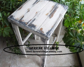 Cottage Chic Table, Side Table, Country Cottage Table,  Rustic Table, Reclaimed Wood Table, White Furniture, Shabby Chic, Shabby Chic Decor