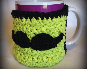 Crochet Mustache Coffee mug cozy warmer 100% cotton Custom made to order any colors