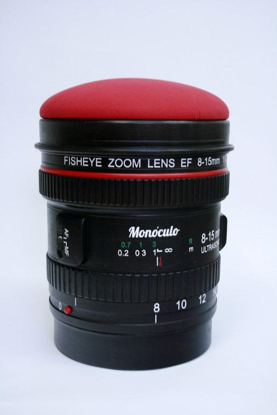 Superb Wood Stool Camera Lens Shape / Paparazzi Stool / Geek Stool / Photo Camera  Stool / Puff / Ottoman / Bench Good Looking