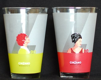 CINZANO Mixin' Style 3 Tumblers / advertising / deco / three drink glasses / Tumblers / Recipe on back.