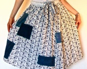 Wrap Skirt with Embroidered Eyelet Lace, Drawstring Waist and Ten Pockets, Upcycled Denim Patchwork with Serged Edges, Women's Small - lovemadevisiblestore
