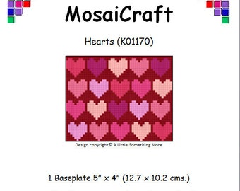 MosaiCraft Pixel Craft Mosaic Art Kit 'Hearts' Valentine (Like Mini Mosaic and Paint by Numbers)