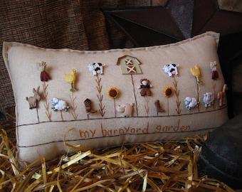 My Barnyard Garden Pillow (Cottage Style)