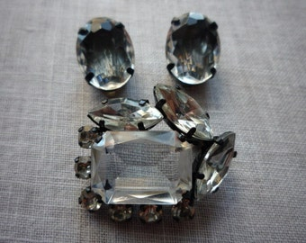 Vintage Faceted Crystal Brooch Pin and Clip On Earring Set