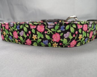 Bright Spring Flowers Girl Dog Collar