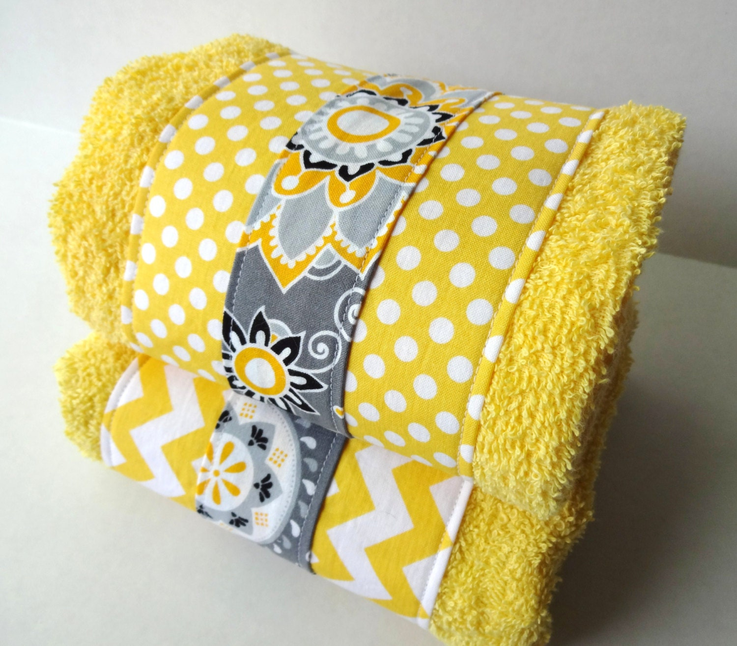 Yellow and gray chevron bathroom towels set of two yellow and for Yellow and grey bathroom sets