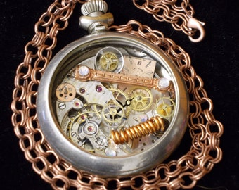 Steampunk Deconstructed Pocket Watch Necklace with Copper Chain
