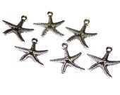 Starfish Charms Silver Tone 25x25mm 6 Charms