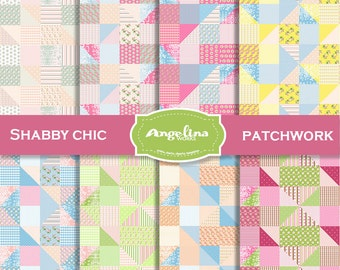 8 PATCHWORK Shabby Chic Digital Scrapbook Paper pack.