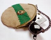 Clutch purse . Steampunk Victorian inspired. Emerald green lace and tan linen, with swarovski tears.OOAK - EguaLondon