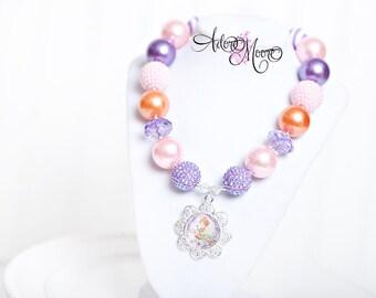 Fancy Nancy Inspired Necklace, Chunky Necklace, Chunky Bead Necklace, Child Girls Necklace