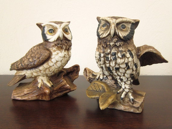 Owl Decor Owl Figurines Pair Of Owls Ceramic By