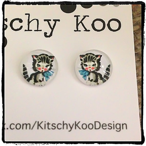 FREE SHIPPING - Vintage Cartoon Cat - Surgical Steel - Cat Earrings - Free Postage - Cat Jewelry - Cartoon Jewelry - Cat Free Postage