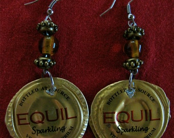 Eco Chic Gold recycled bottle cap earrings