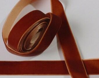 5 yards 3/4 inches Velvet Ribbon in copper  RY34-114