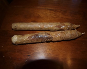 """Grungy Taper Candles 8"""", (2 included)  Primitive Colonial Home Decor"""
