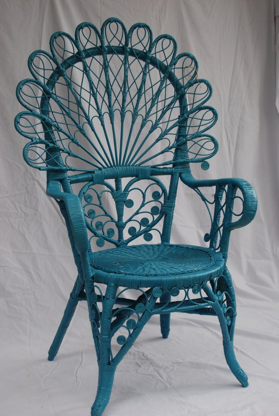 Vintage turquoise wicker peacock chair by modcottagedesigns